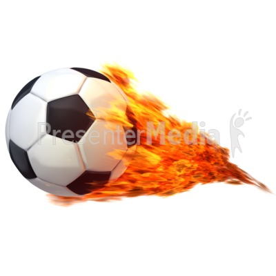 Flaming soccer ball clipart.