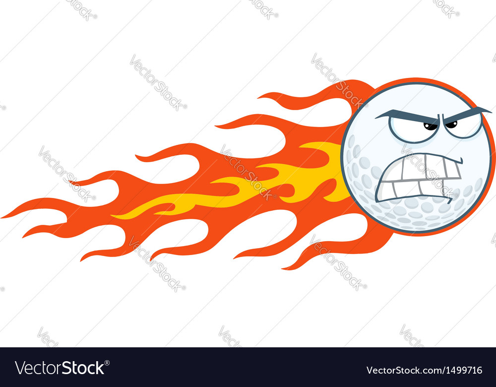 Angry Flaming Golf Ball Vector Image by HitToon.