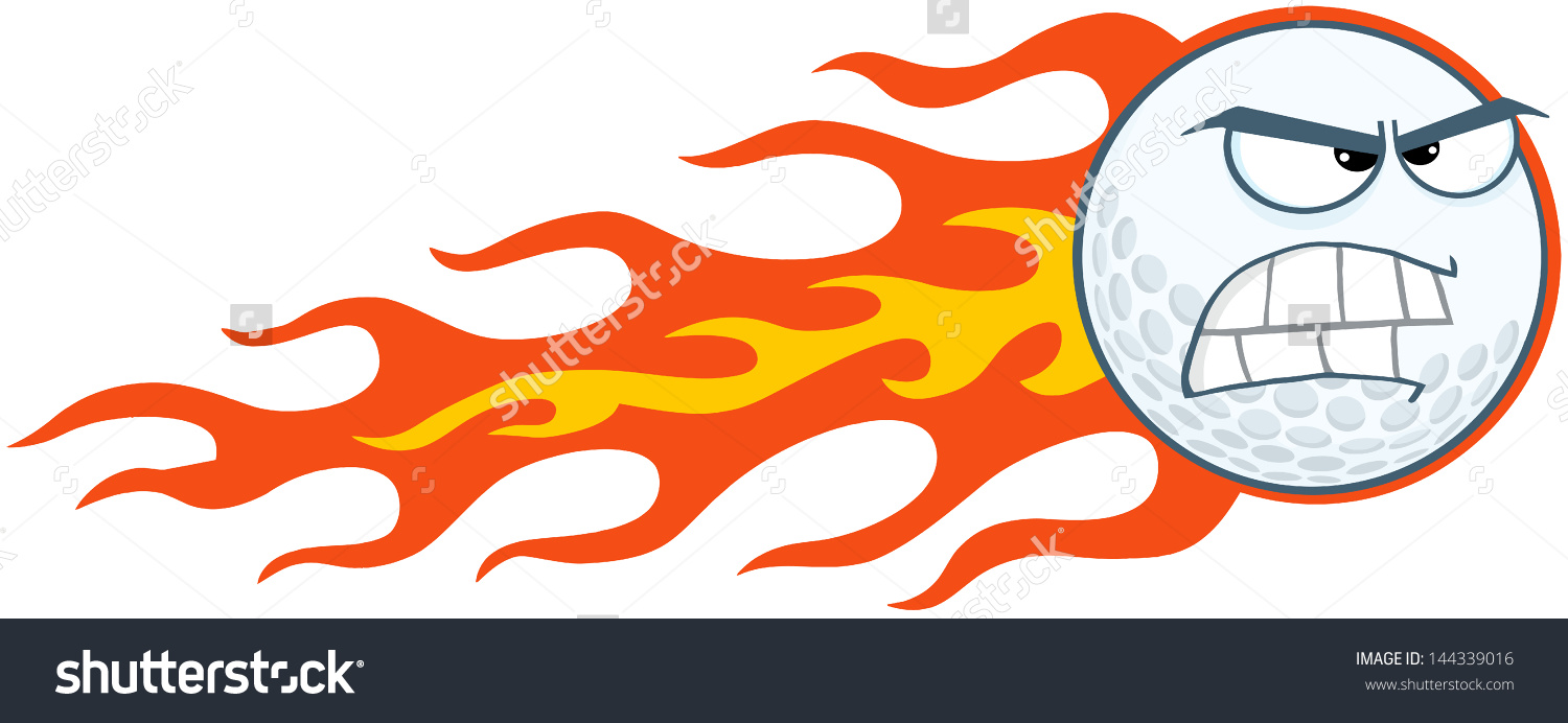 Angry Flaming Golf Ball Vector Illustration Stock Vector 144339016.