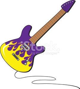 Flaming Guitar Clipart Image.