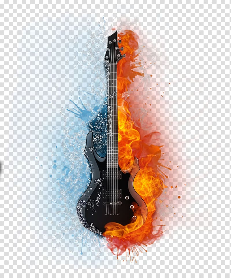 Flame guitar music transparent background PNG clipart.