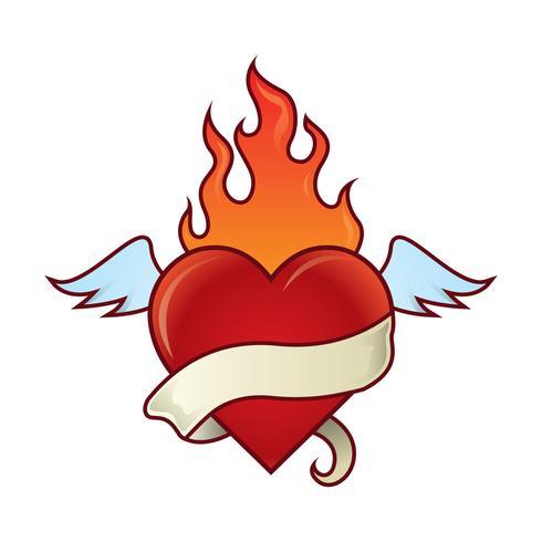 Flaming Heart Illustration.