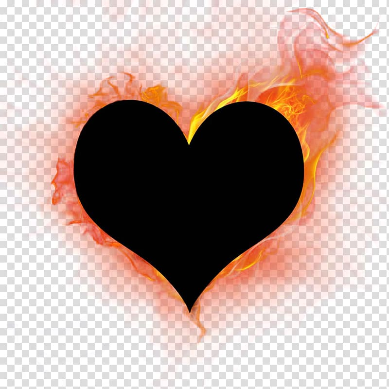 Burning heart transparent background PNG clipart.