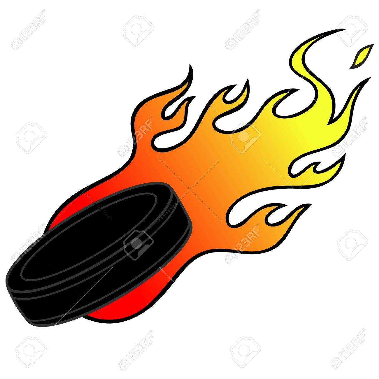 Hockey Puck with Flames.