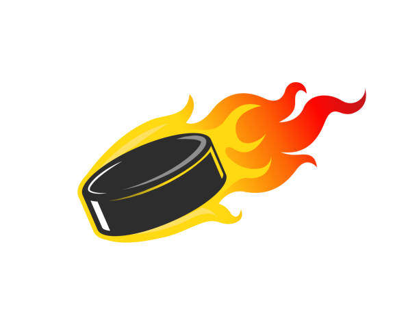 flaming hockey puck clipart #10