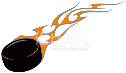 Flaming Hockey Puck (vector) premium clipart.