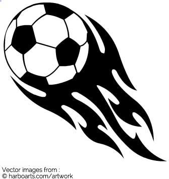 Clipart of flaming soccer football..