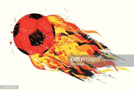 flaming soccer ball Clipart Image.
