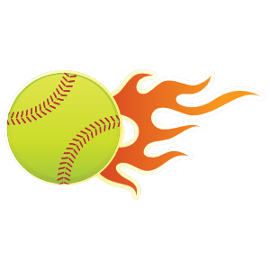 Softball With Short Flames Sticker.