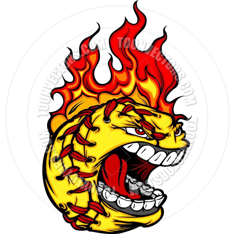 Softball On Fire Clip Art.