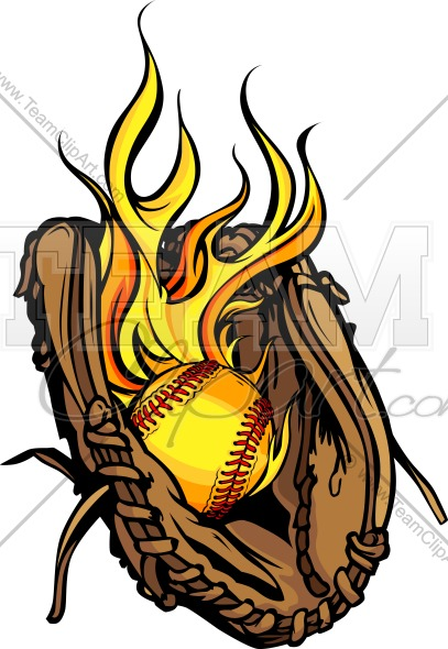 Flaming Softball Mitt Clipart Image. Vector Format..