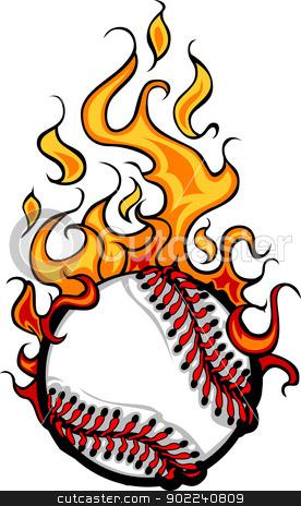 Baseball Softball Flaming Ball Vector Cartoon stock vector.