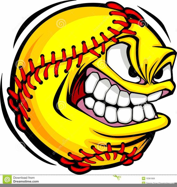 Free Flaming Softball Clipart.