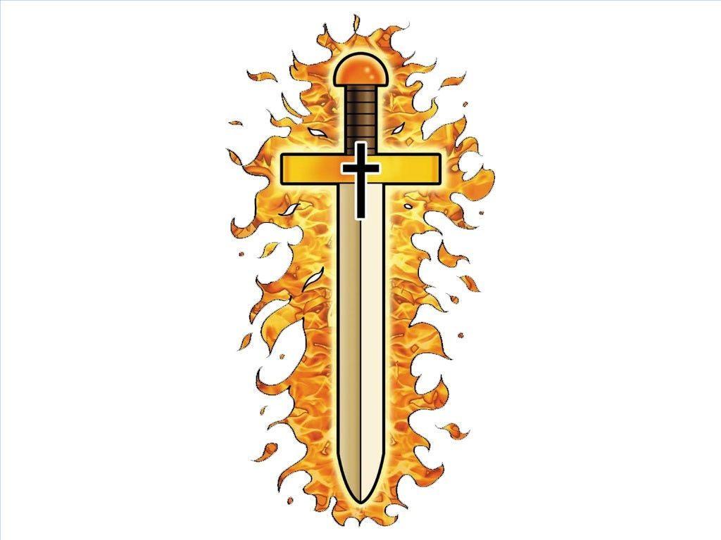 Flaming sword..