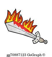 Flaming Sword Clip Art.