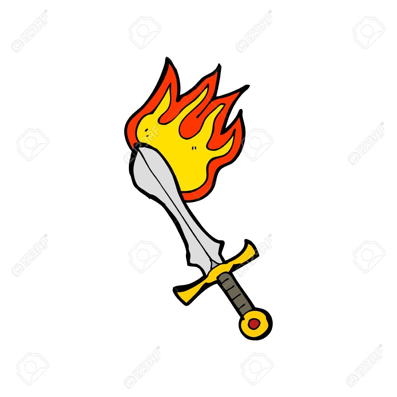 cartoon flaming sword.