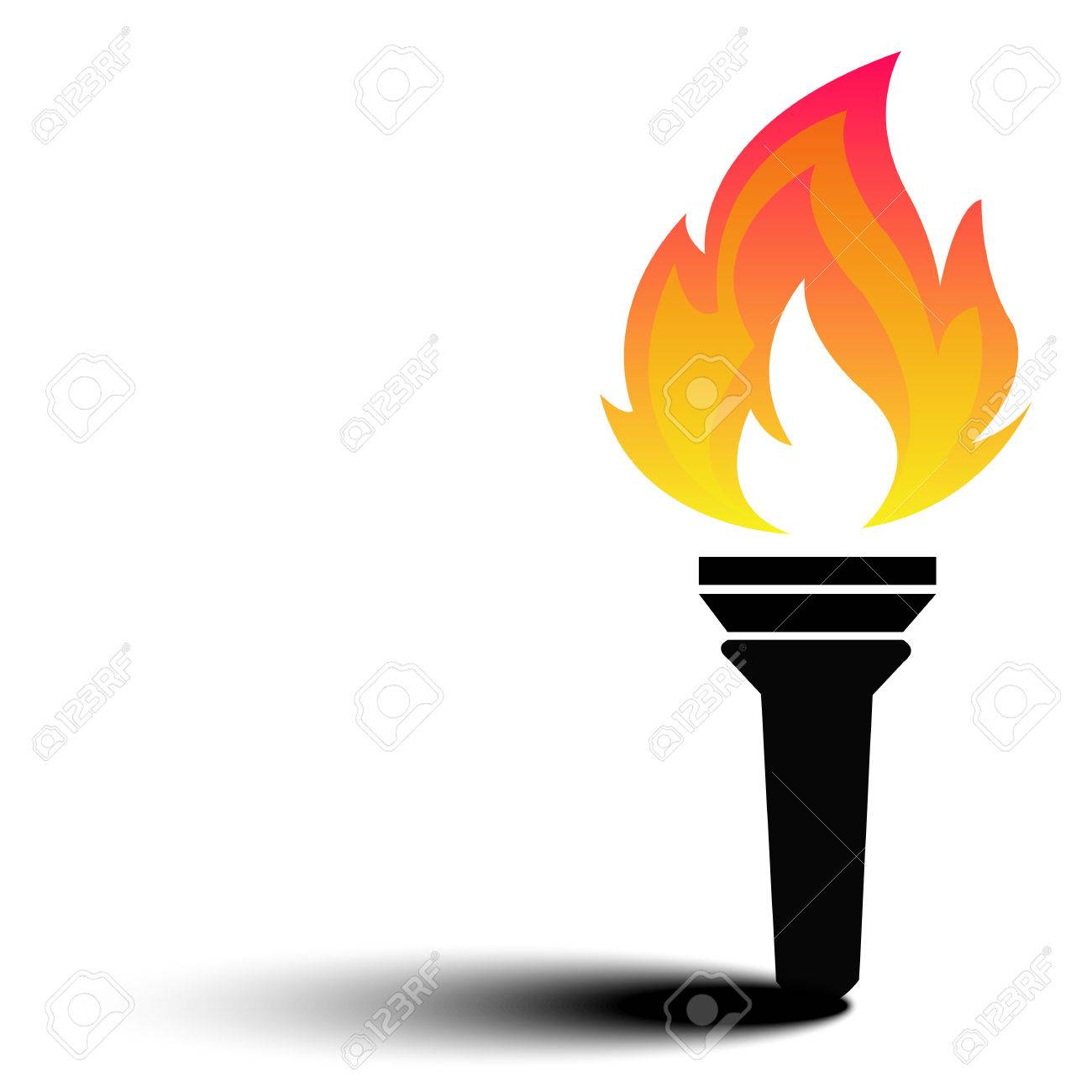 Torch flame fire vector.