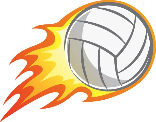 Flaming Volleyball Clipart.