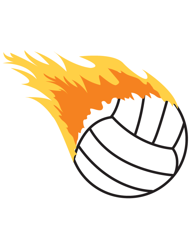 Flaming Volleyball Waterless Tattoo.
