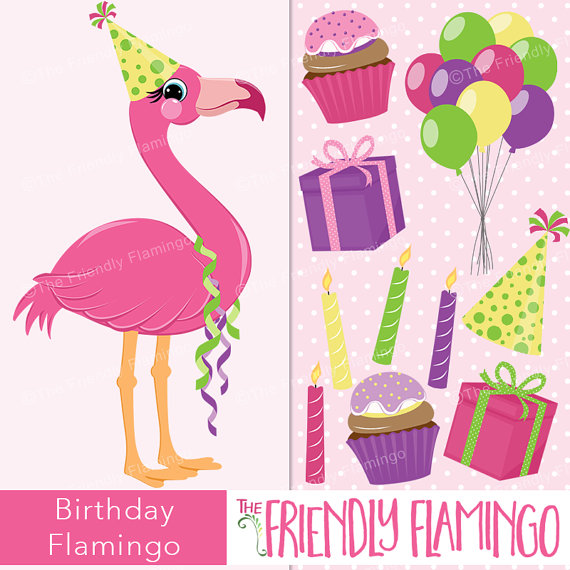 Birthday pink flamingo clip art, party girl flamingo clipart.