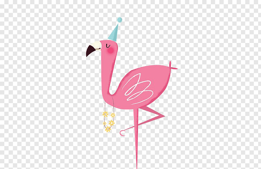 Pink bird illustration, Plastic flamingo Bird Party.