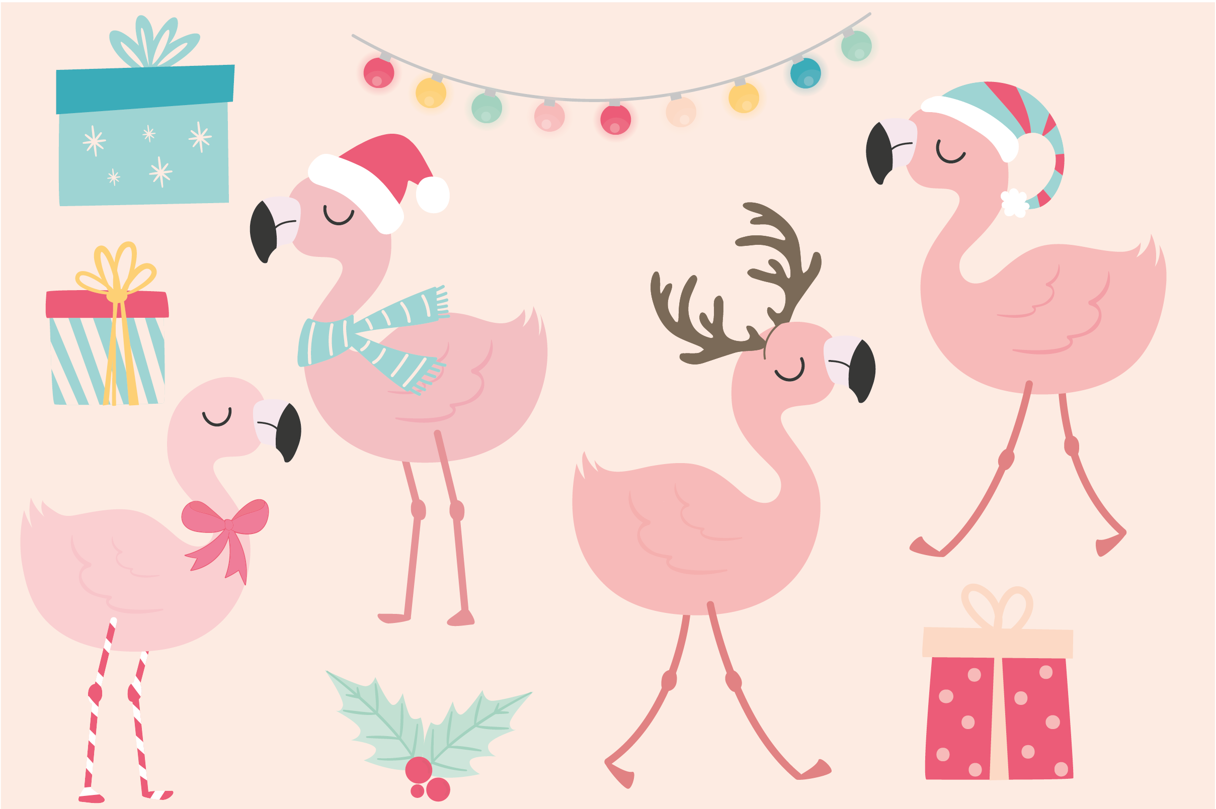 Christmas flamingo clipart and paper set.