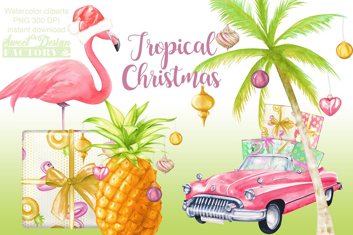 Watercolor tropical Christmas clipart.