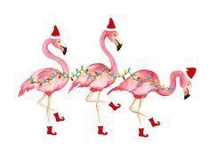 Christmas Flamingo Clipart.