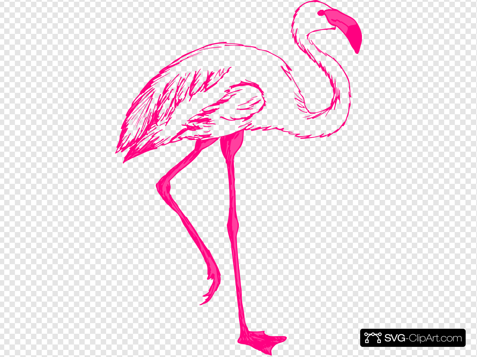 Pink Flamingo Outline Clip art, Icon and SVG.