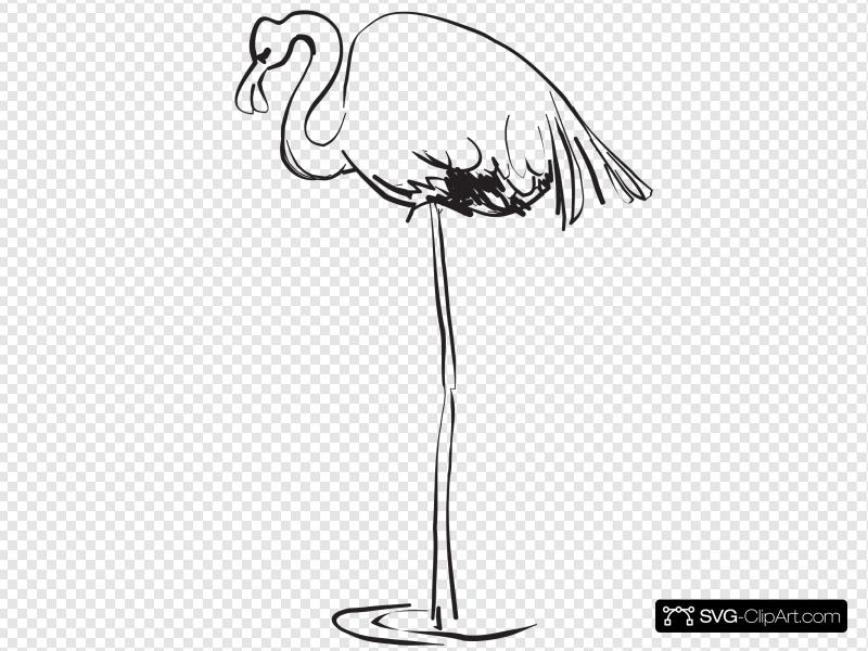 Flamingo Outline Art Clip art, Icon and SVG.