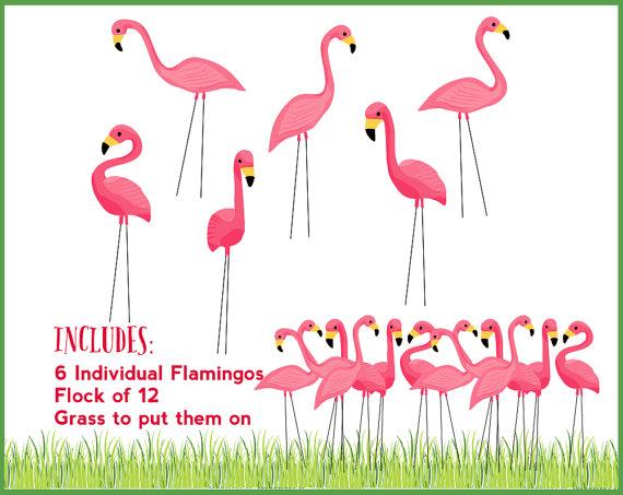 Pink Flamingo Lawn Ornament Clipart.