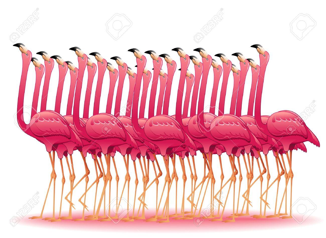 Flamingo Flock Clipart.
