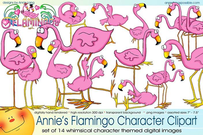 Flamingo Character Clipart.