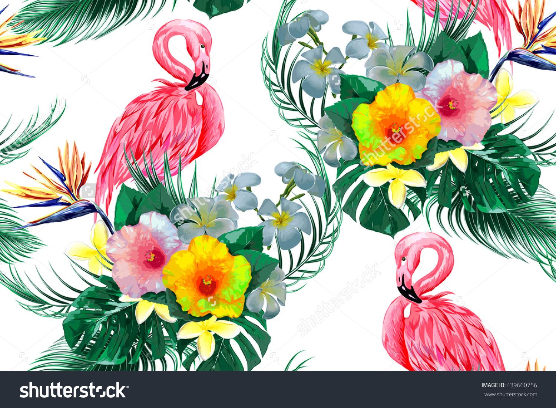 Pink Flamingo Exotic Birds Tropical Flowers Stock Vector 439660756.