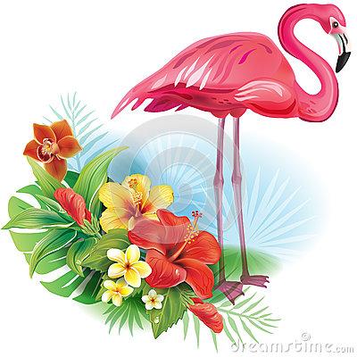 Arrangement From Flowers And Flamingo Stock Vector.