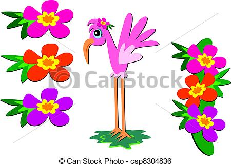 Clip Art Vector of Mix of Pink Flamingo and Flowers.
