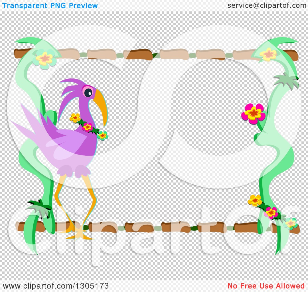Clipart of a Purple Flamingo Flower and Wood Frame.