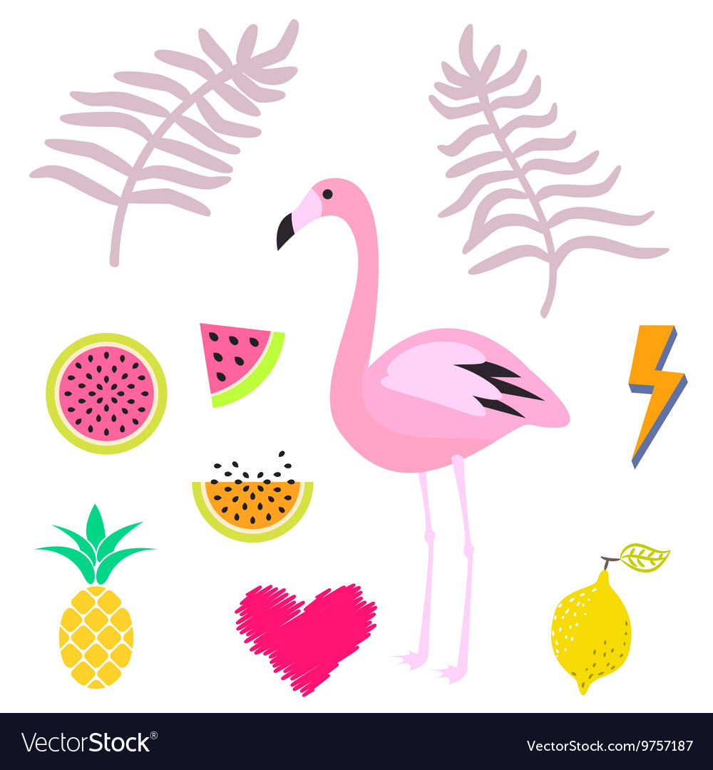 Summer pink flamingo clipart icon set.