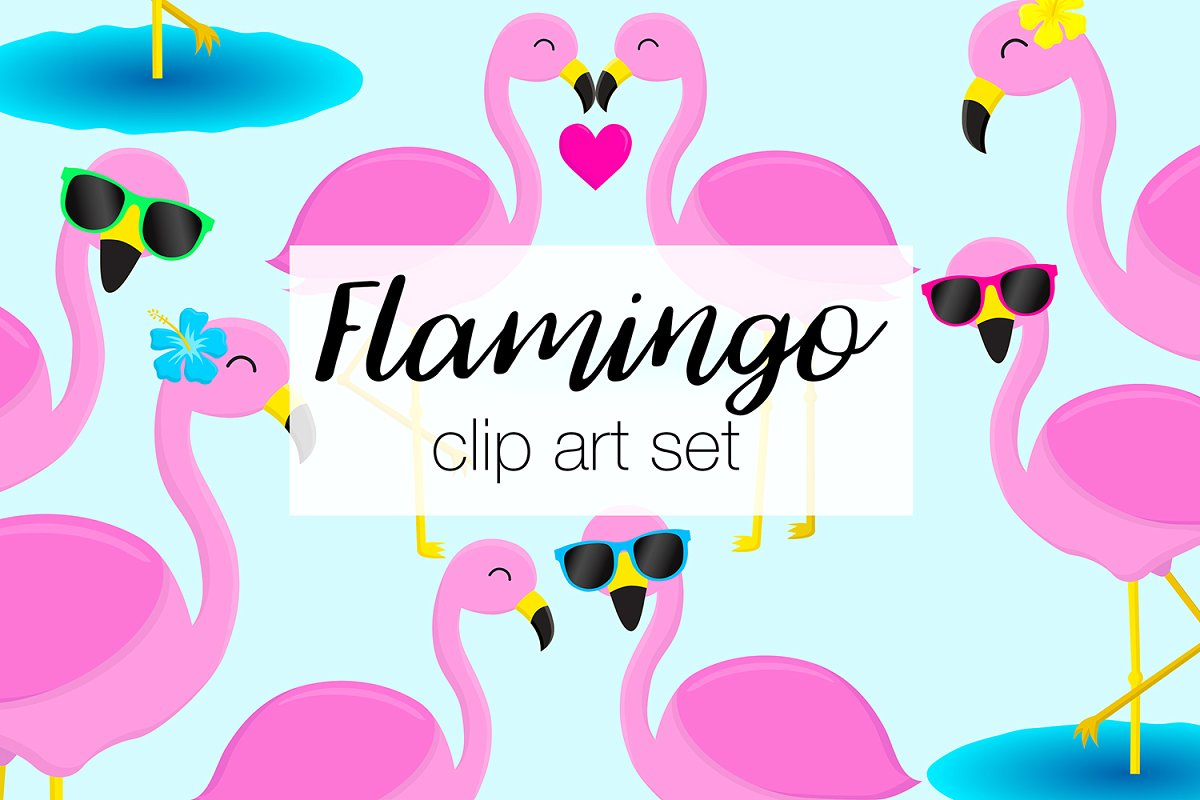 Flamingo Clipart Illustrations.