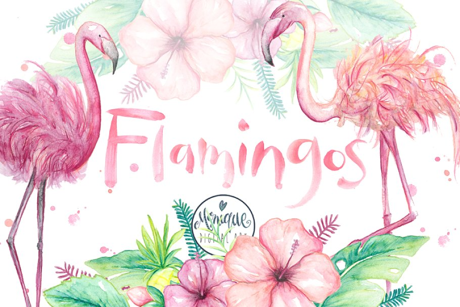Flamingo clipart, watercolor.