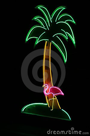 Neon Sign With Palm Tree And Flamingo Royalty Free Stock Images.