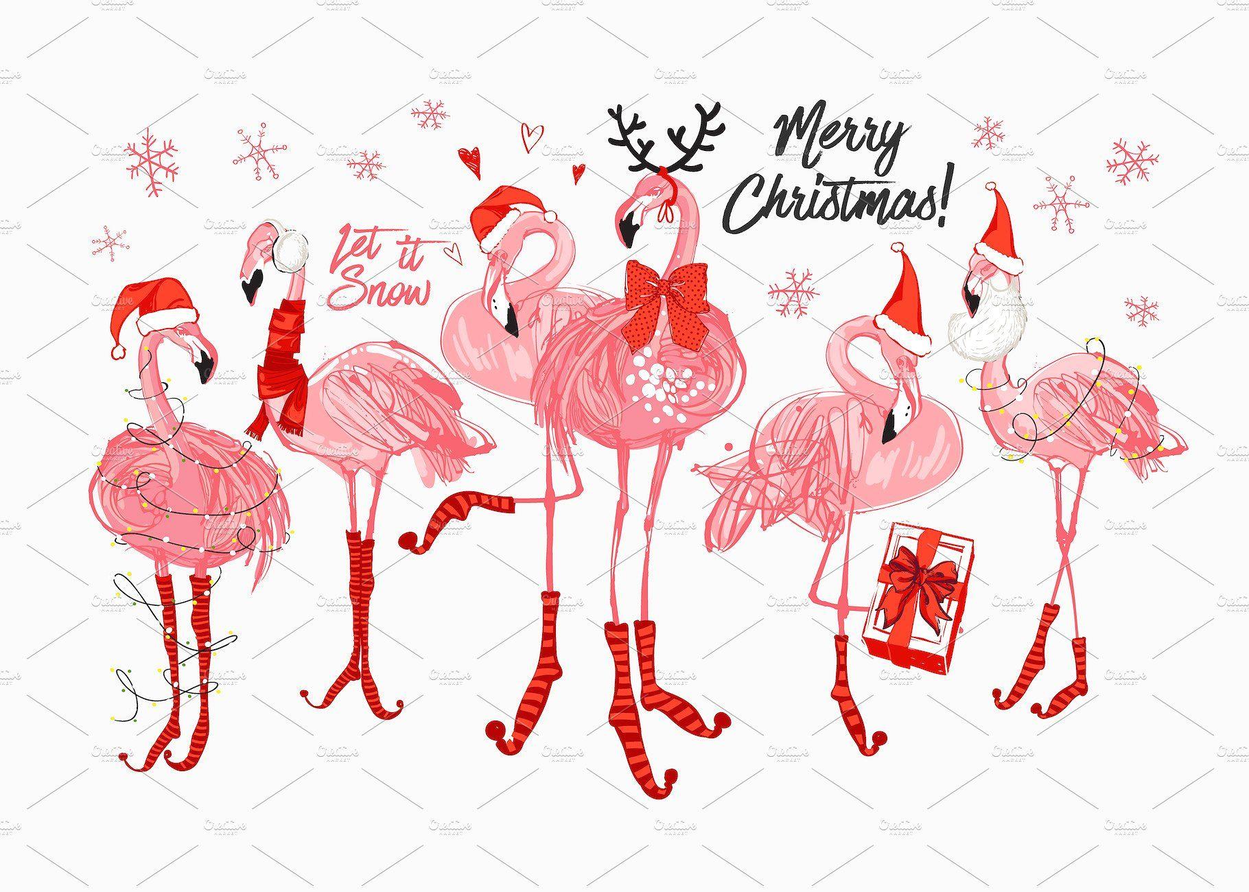 Tropic Christmas Flamingo Vector Set #horns#red#deer#hats.