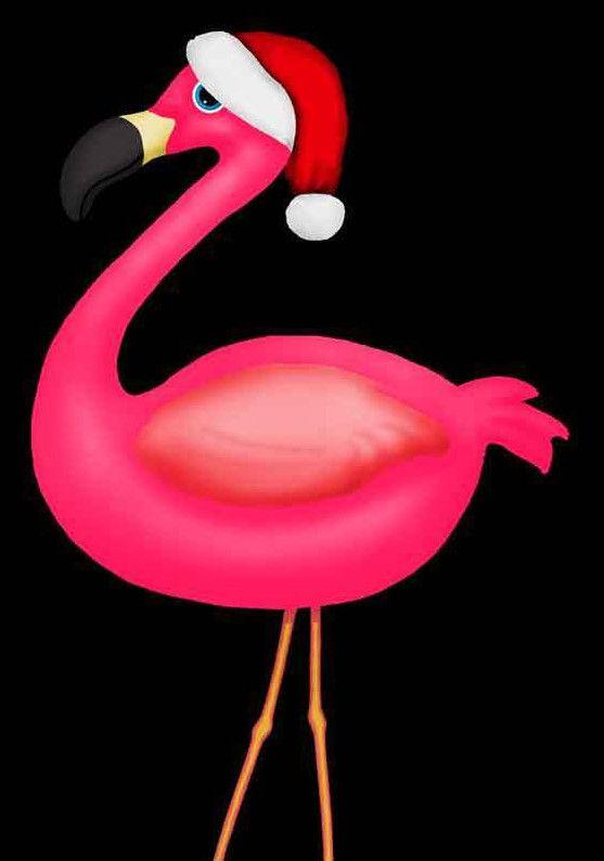 Flamingo With Santa Hat Clipart.