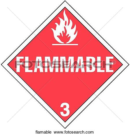 Clipart of Flammable flamable.