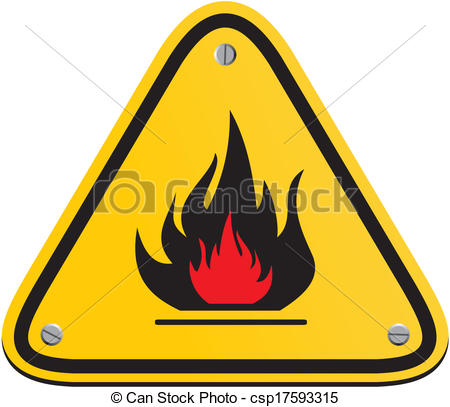 Vector Clip Art of flammable triangle yellow sign.