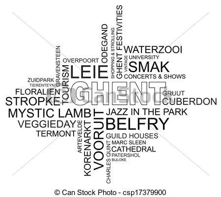 Vector Clipart of word cloud around ghent, city in belgium.