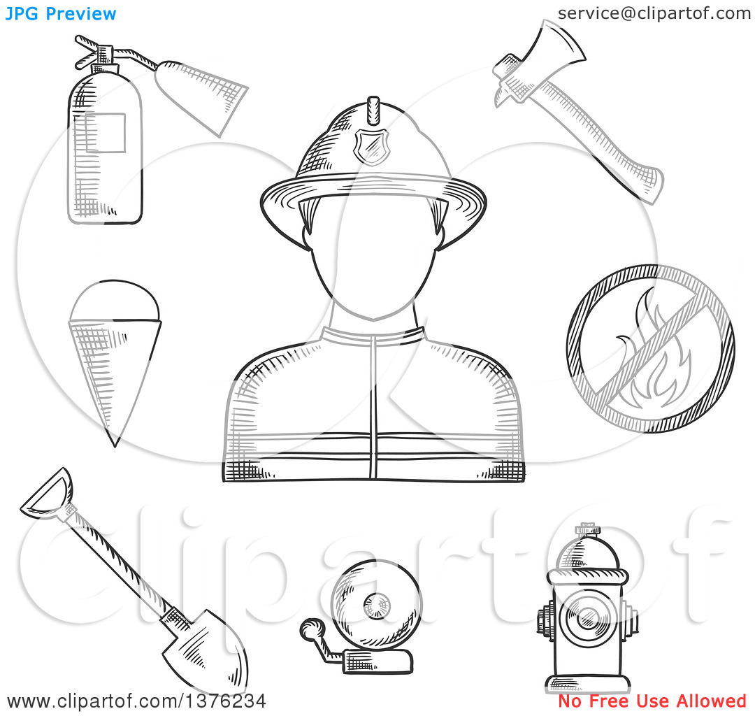 Clipart of a Black and White Sketched Fireman Flanked by Fire Axe.