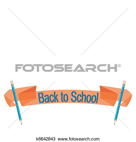 Clipart of Back to school banner in a transparent orange with blue.