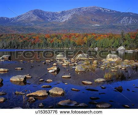 Stock Images of Hamlin Peak, Sandy Stream Pond, flanks of Mount.