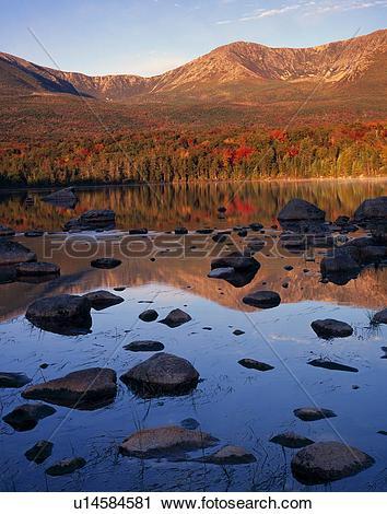 Stock Photography of Hamlin Peak and Sandy Stream Pond, autumn.